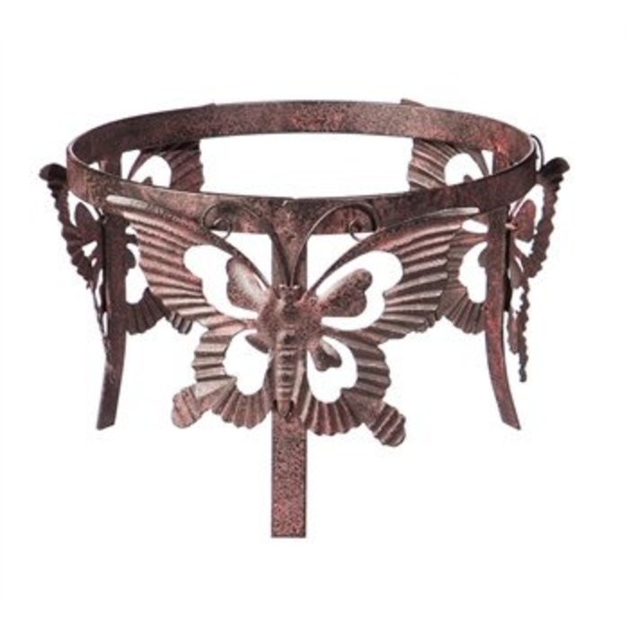 Gazing Ball Stand Butterfly Adorned