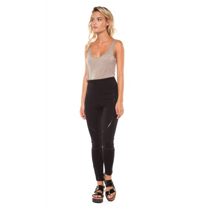 Legging with Faux Leather Inserts