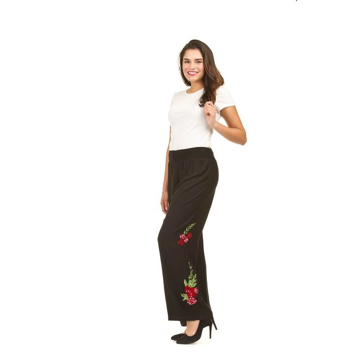 Floral Embroidered Wide Leg Pants