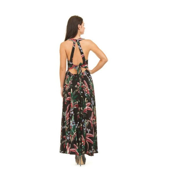 Tropical Print Tie Back Lace Maxi