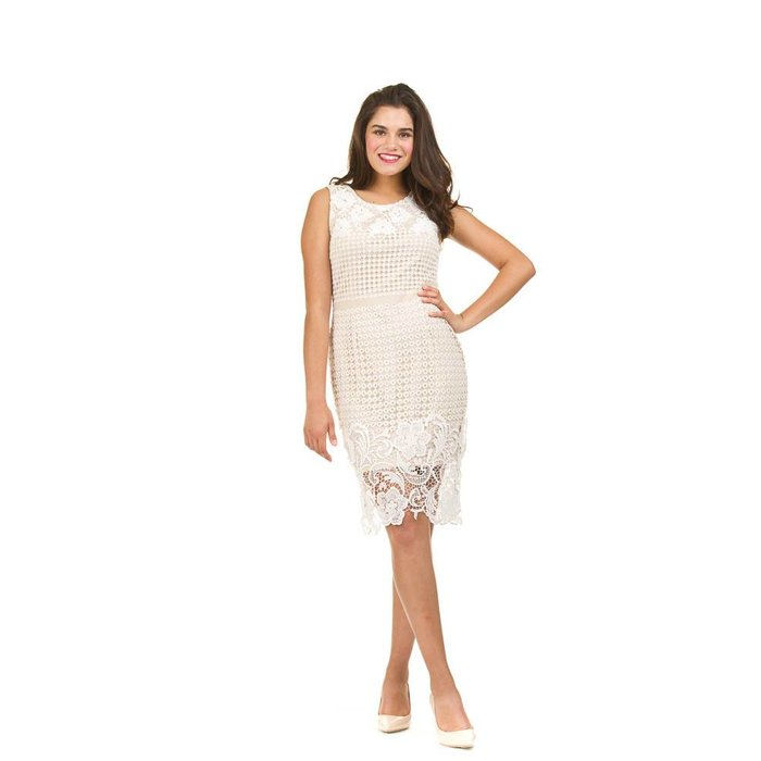 Lace Overlay Midi Shift Dress
