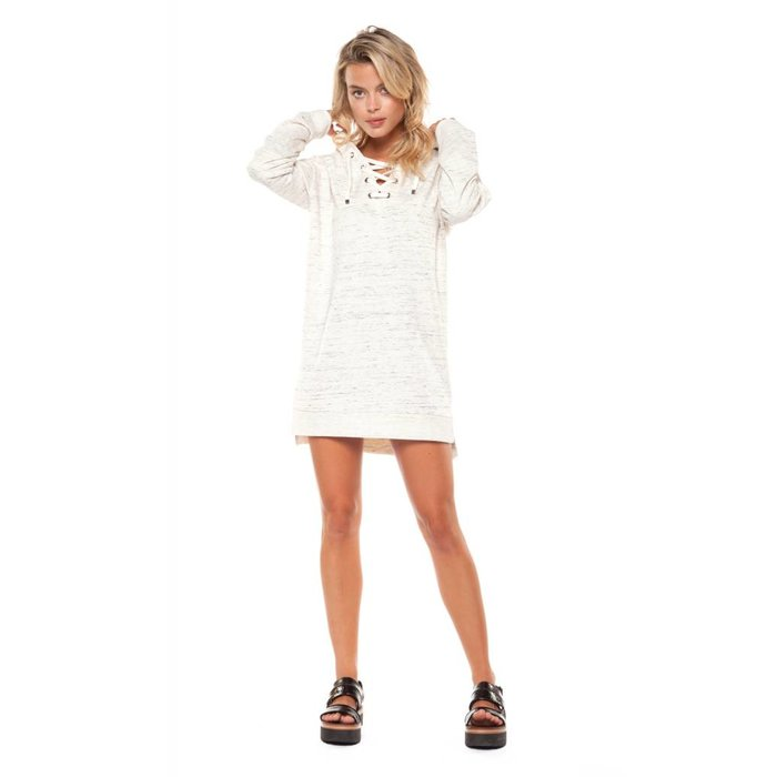 Lace Up V Neck Hoodie Tunic