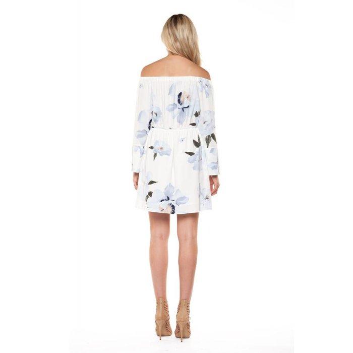 3/4 Sleeve Off Shoulder Printed Dress