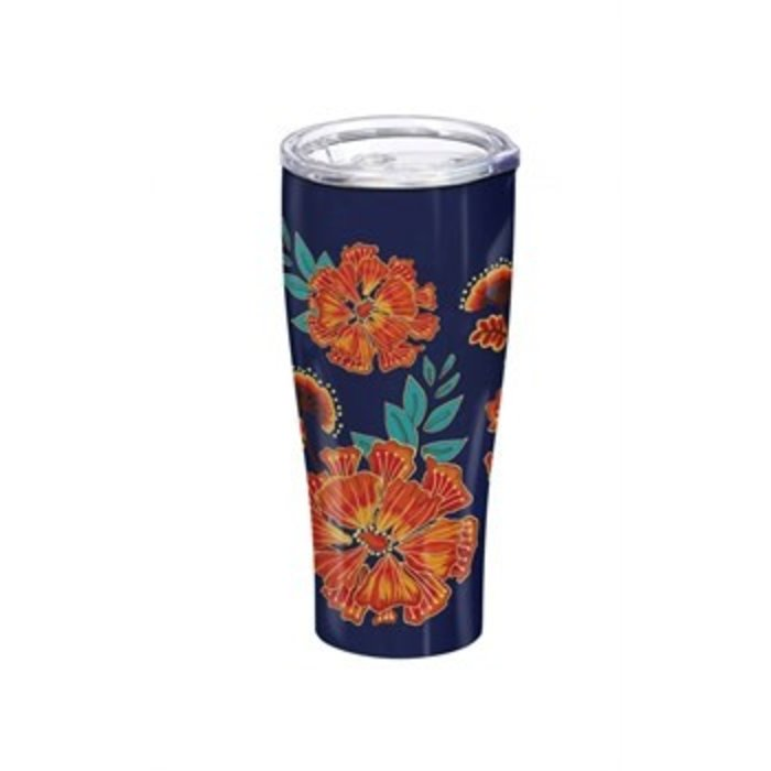 Double Wall Stainless Steel Cup Floral Garden Blue