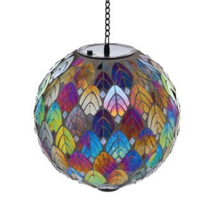 Feathered Mosaic Hanging Solar Gazing Ball