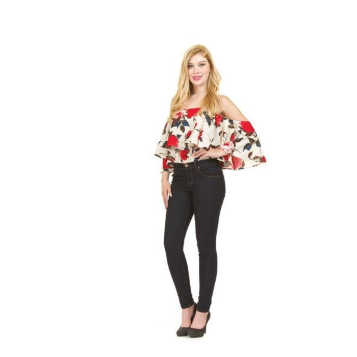 Rose Floral Cold Shoulder Top