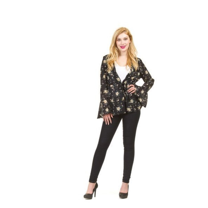 Floral Drawstring Bell Sleeve Top