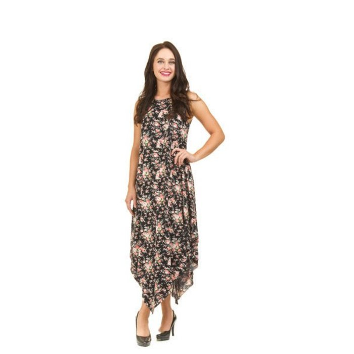 Ditsy Floral Layered Jersey Dress