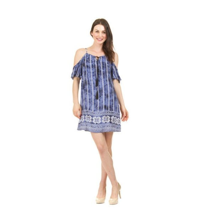 Tie Dye Print Cold Shoulder Dress
