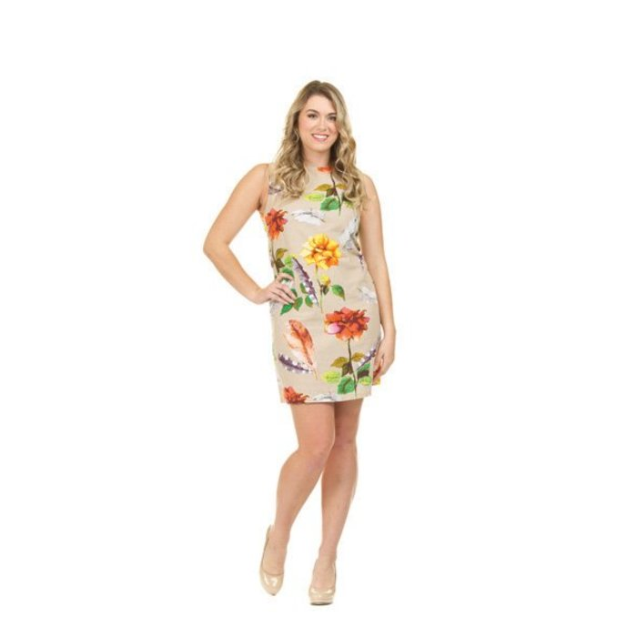 Floral and Feather Linen Shift Dress
