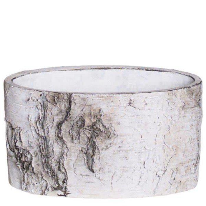 "Oval Cement Birch Bark Planter 6.5"" x 3"""