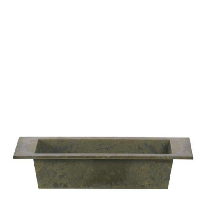 Rectangle Antique Green Plastic Planter 9.75""