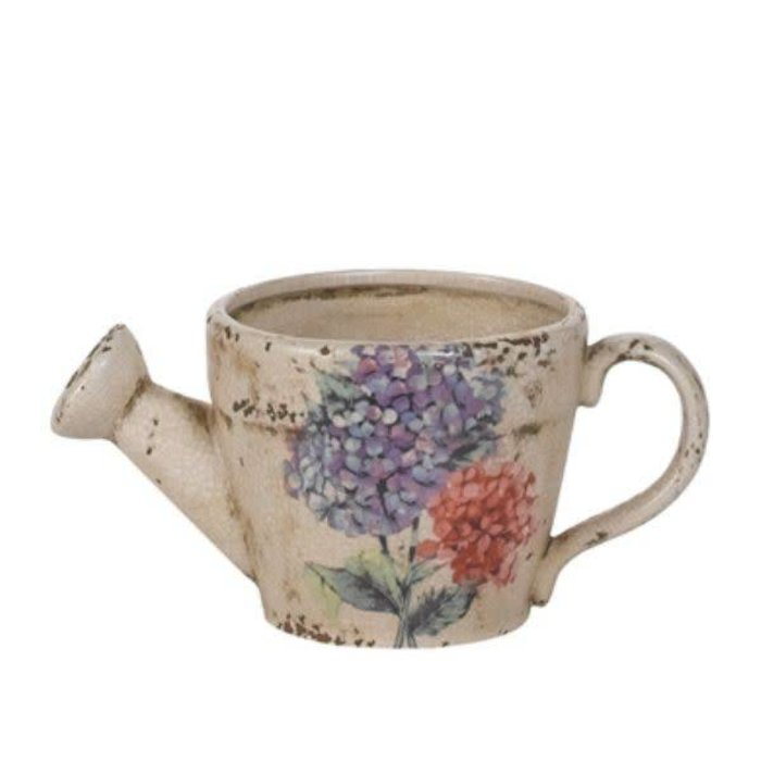 "Hydrangea Watering Can Pottery 4.25"" x 4"""