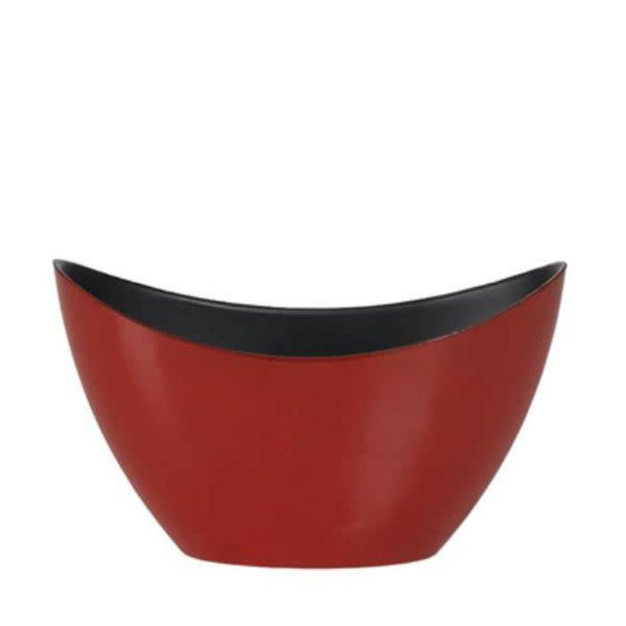 Oval Dark Red Plastic Planter 7.75""