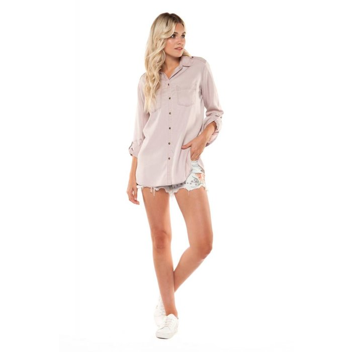 Roll Up Sleeve Button Front Shirt