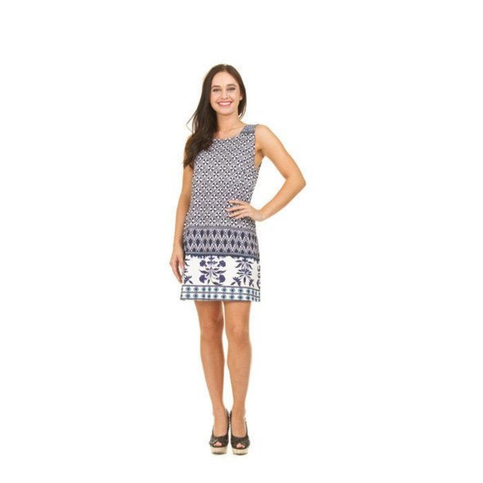 Lattice Border Shift Dress