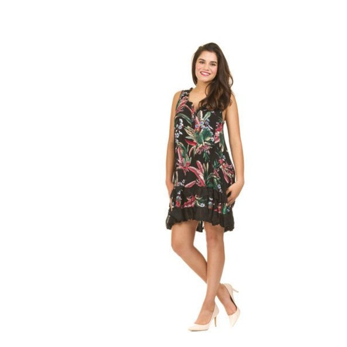 Tropical Print Ruffle Trim Dress