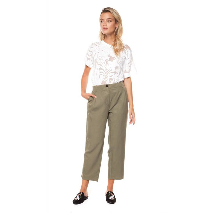 Capri Button Front Pant with Rolled Cuff