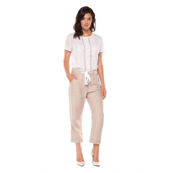 Cropped Pant with Contrast Sash