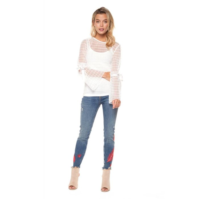 Crewneck Sheer Top with Tie