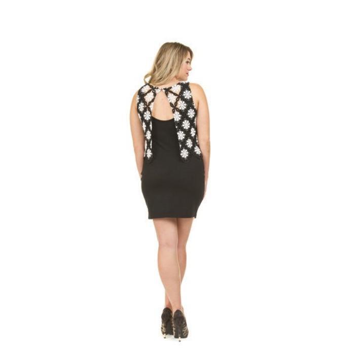 Crochet Overlay Shift Dress