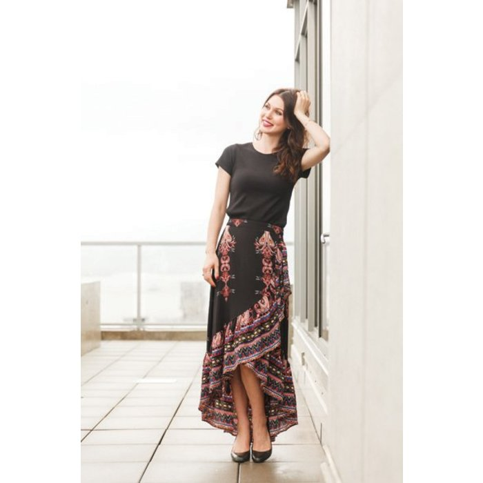 Paisley Print Ruffled Skirt