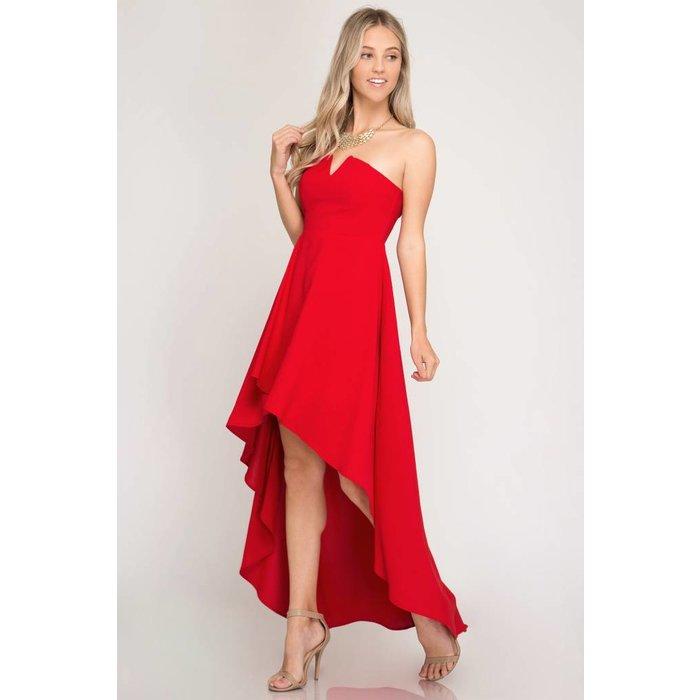 Strapless Hi Low Dress