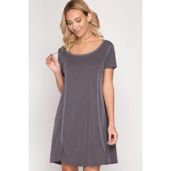 Half Sleeve Ribbed Dress