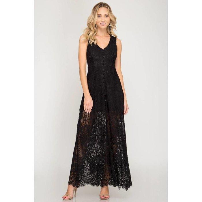 Lace Button Down Maxi Dress