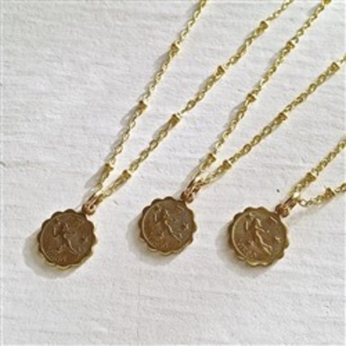 Zodiac Astrological Charm Necklace Gold