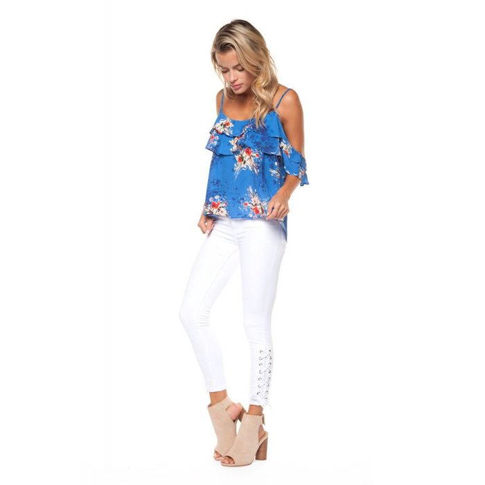 Printed Cami with Ruffle