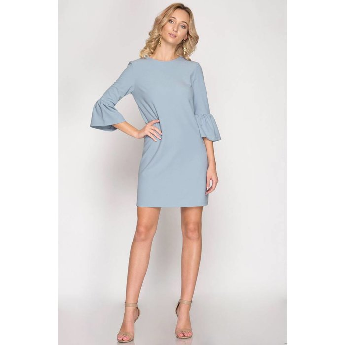 3/4 Bell Sleeve Shift Dress