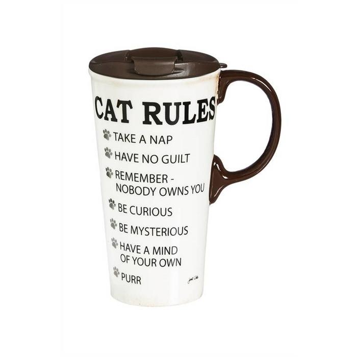 Ceramic Perfect Cup Cat Rules 17oz