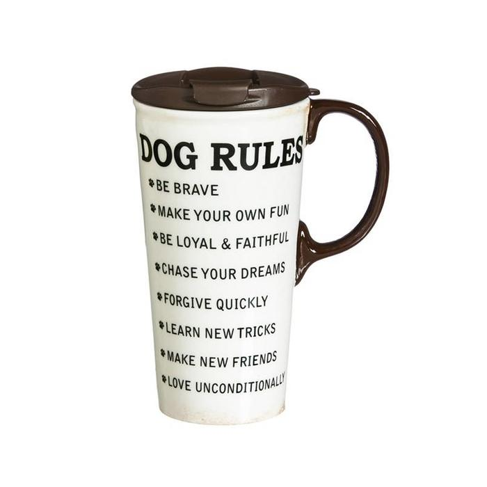 Ceramic Travel Cup Dog Rules 17oz