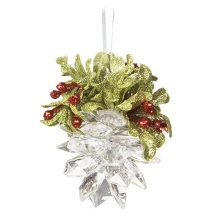 mistletoe pinecone ornament