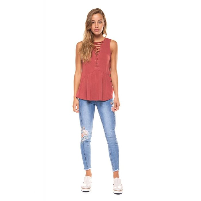 Lace Up Scoop Neck Top