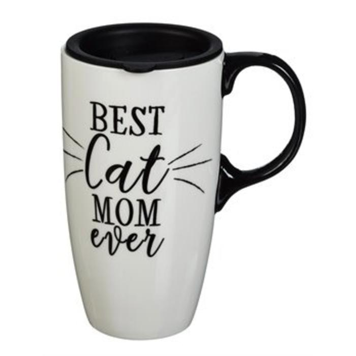 Ceramic Travel Cup Best Cat Mom 17oz