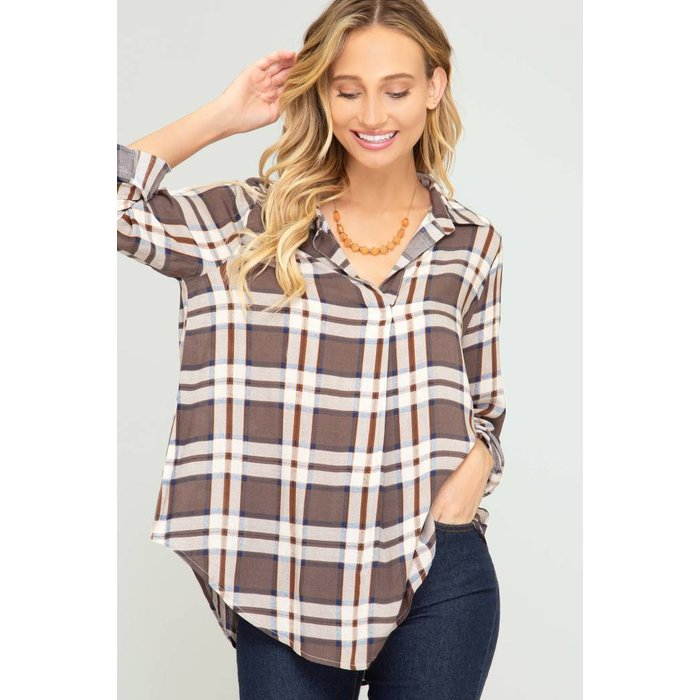Roll Up Plaid Tunic
