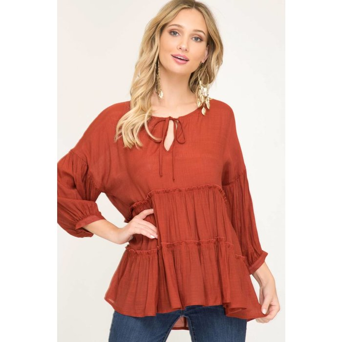 3/4 Sleeve Tiered Top