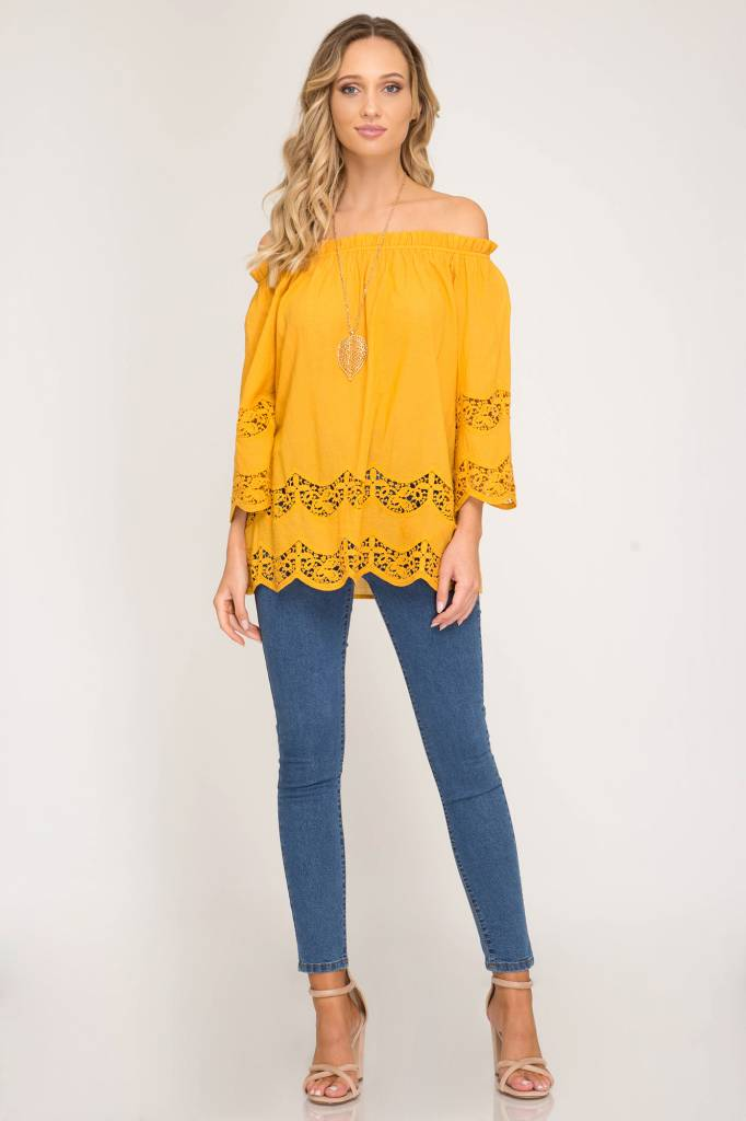 7600d9bc08b8f 3 4 Sleeve Off The Shoulder Top - Dutch Growers