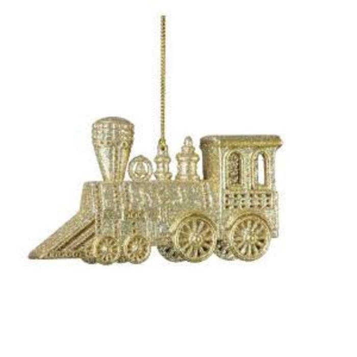 "Glitter Train Ornament Champagne 5"""