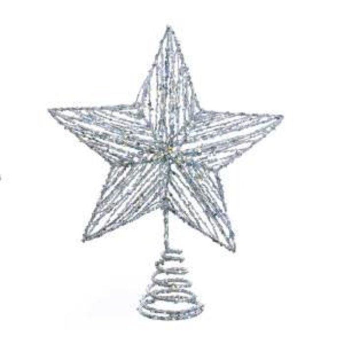 "Glitter Star Tree Topper Silver 13"""