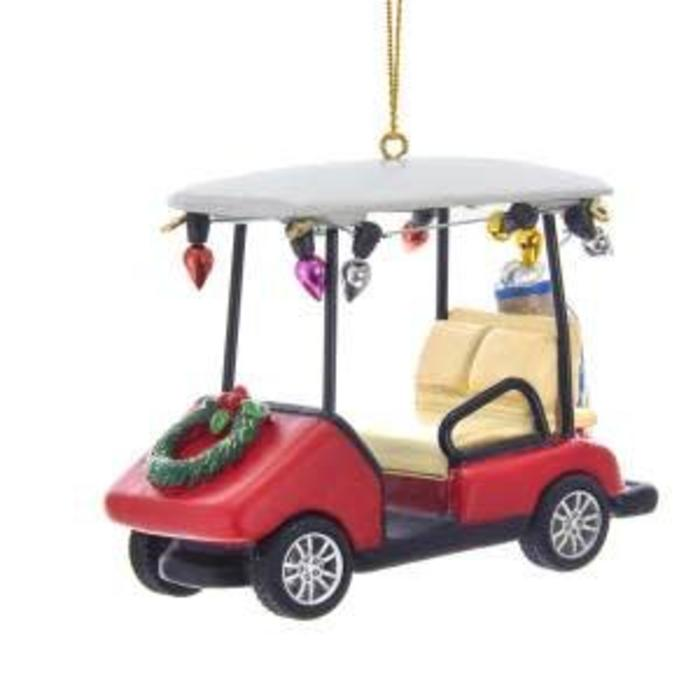 """Golf Cart With Wreath Ornament 3.5"""""""