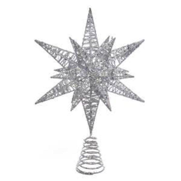 """Multi Angle Star Tree Topper Silver 15.5"""""""