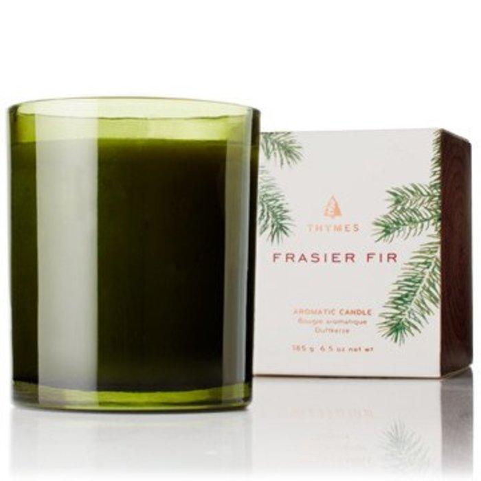 Molded Green Glass Candle Frasier Fir