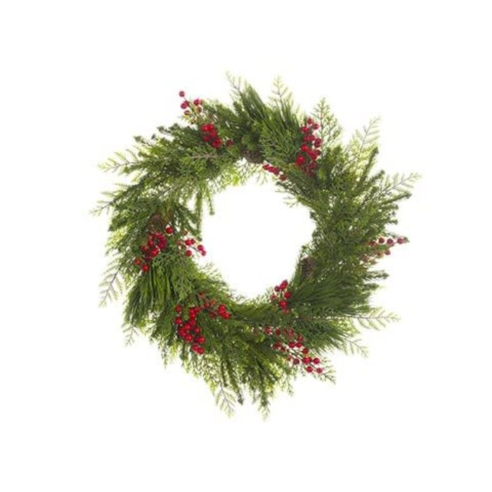 Berry Pine Cone Wreath 24""