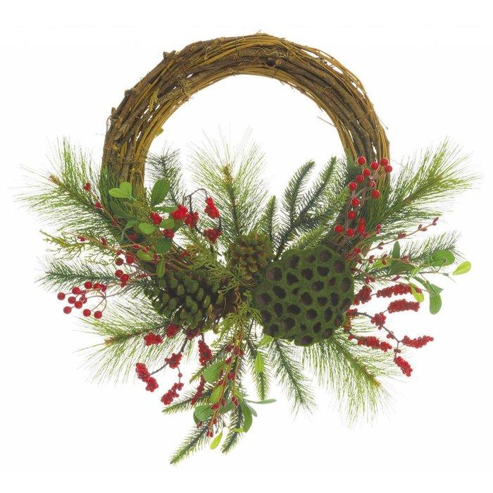 "Berry and Mistletoe Pine Cone Wreath 18"""