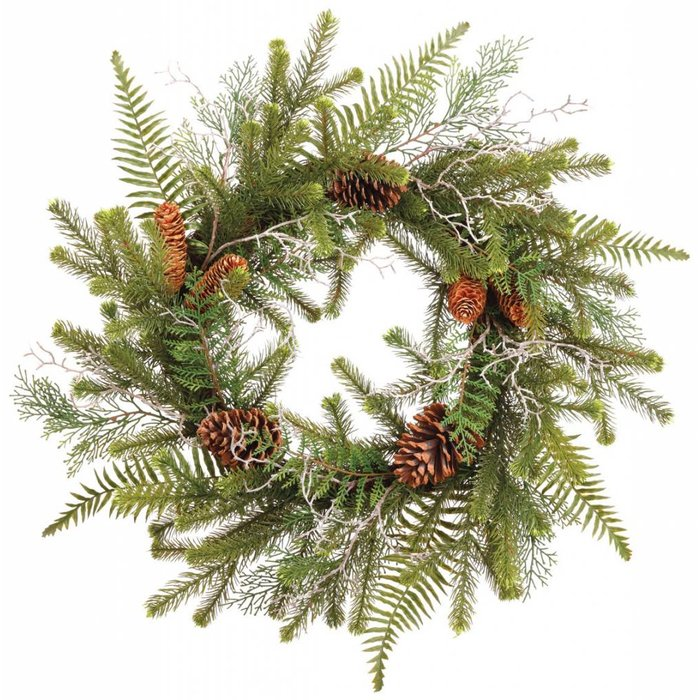 Fern and Pine Cone Wreath 24""