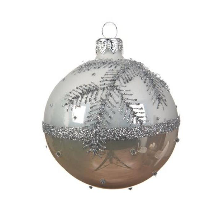 Glitter Branch With Pearl Bauble Winter White