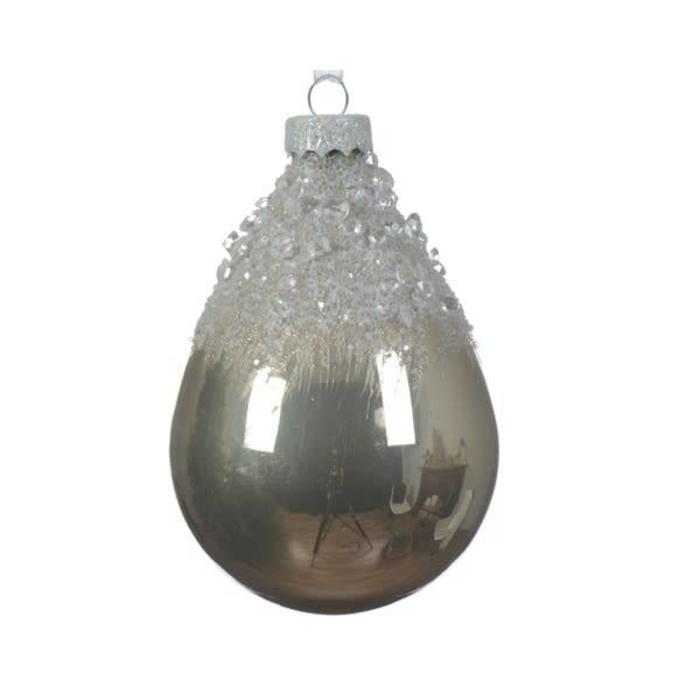 Glass Drop Bauble Bead Top Natural Linen